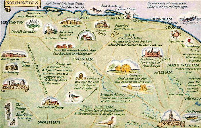 AK / Ansichtskarte North Norfolk Map Landkarte Kat. North Norfolk