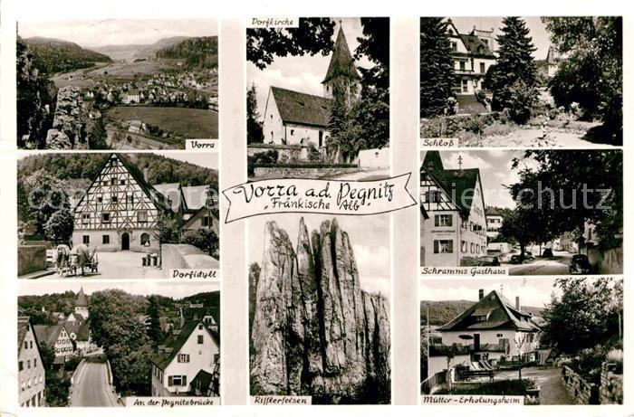 AK / Ansichtskarte Vorra Pegnitz Panorama Fraenkische Alb Dorfidyll Pegnitzbruecke Rifflerfelsen Muettererholungsheim Gasthaus Schloss Kat. Vorra