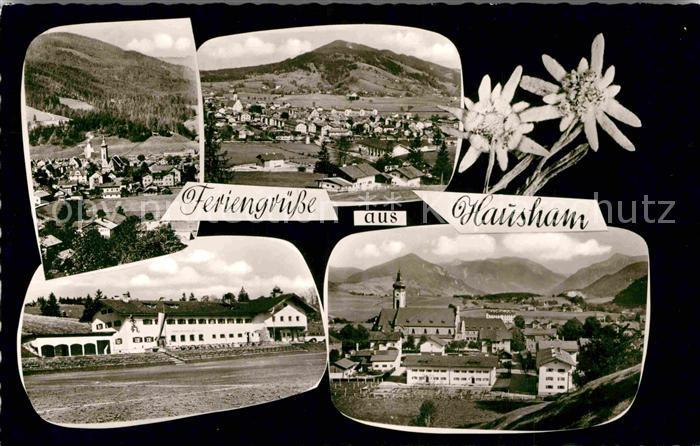 AK / Ansichtskarte Hausham Panorama Ortsansicht mit Kirche Edelweiss Kat. Hausham