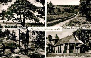 AK / Ansichtskarte Mueden oertze Schirmfuhre Weg am Wietzer Berg Kirche Glockenturm 12. Jhdt. Linde Stein Natur Lueneburger Heide Kat. Fassberg
