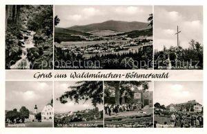 AK / Ansichtskarte Waldmuenchen Panorama mit Hirschstein Boehmerwald Teufelsbruecke Klammerfelskreuz Grenzhotel Freilichtbuehne Schloss Marktplatz Kat. Waldmuenchen