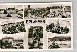 AK / Ansichtskarte Erlangen Schloss Marktplatz Rathaus Hugenottenbrunnen Schloss  Kat. Erlangen