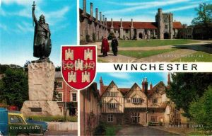 AK / Ansichtskarte Winchester King Alfred Statue St Cross Hospital Cheyney Court Kat. Winchester