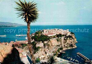 AK / Ansichtskarte Monaco Le Rocher vu du Jardin Exotique au loin l Italie Cote d Azur Kat. Monaco