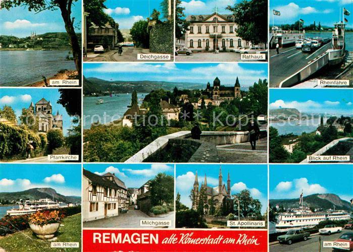 AK / Ansichtskarte Remagen Rhein Faehre Pfarrkirche Deichgasse Rathaus Milchgasse St Apollinaris Kirche Kat. Remagen