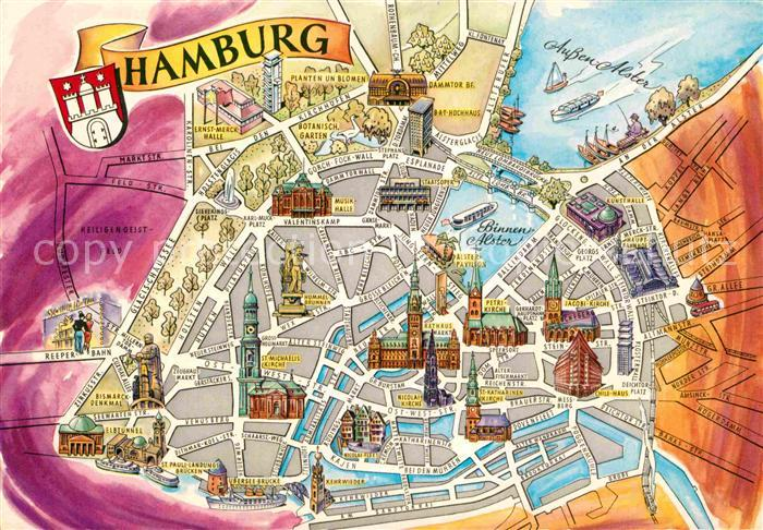 ak ansichtskarte hamburg stadtplan innenstadt mit sehenswuerdigkeiten kat hamburg nr kb77748. Black Bedroom Furniture Sets. Home Design Ideas