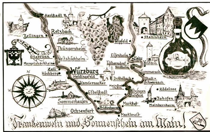 Ak Ansichtskarte Wuerzburg Landkarte Franken Kat Wuerzburg Nr