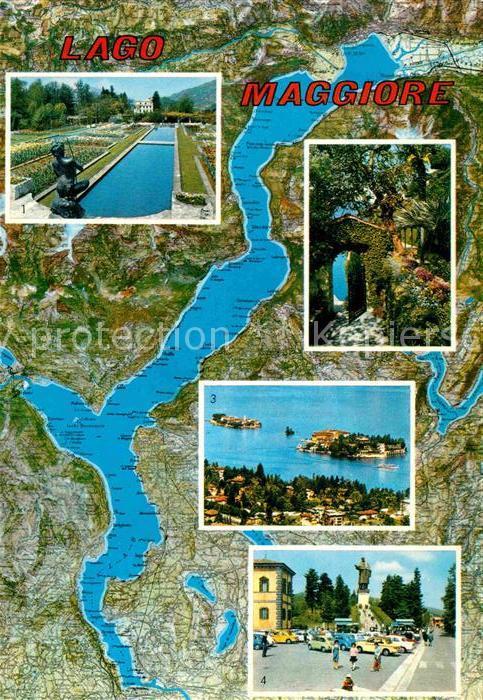 AK / Ansichtskarte Lago Maggiore Landkarte Isola Madre Stresa Isola Bella Isola Pescatori  Kat. Italien