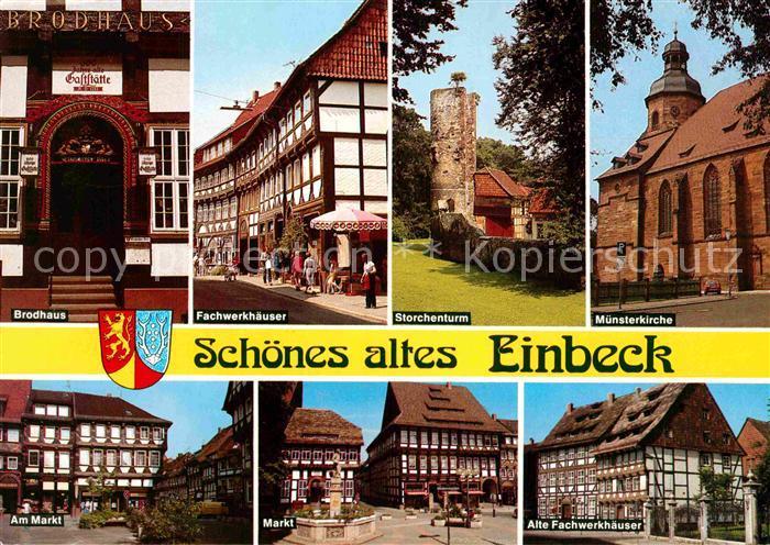 AK / Ansichtskarte Einbeck Niedersachsen Brodhaus Fachwerk Storchenturm Markt Kat. Einbeck