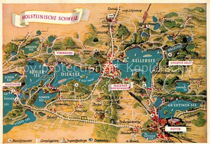Holsteinische Schweiz Karte.Ak Ansichtskarte Holsteinische Schweiz Lageplan Seen Eutin Timmdorf Sielbeck Uklei Malente Gremsmuehlen Kat