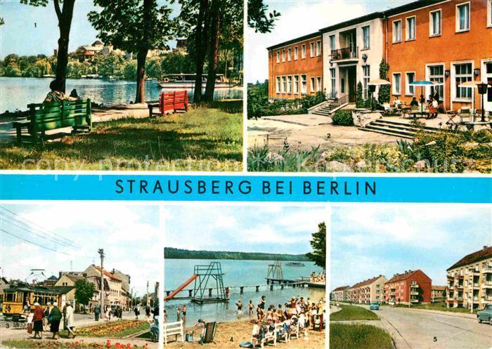 AK / Ansichtskarte Strausberg Brandenburg Faehre Straussee HO Hotel Grosse Strasse Badeanstalt Phlipp Mueller Strasse Kat. Strausberg