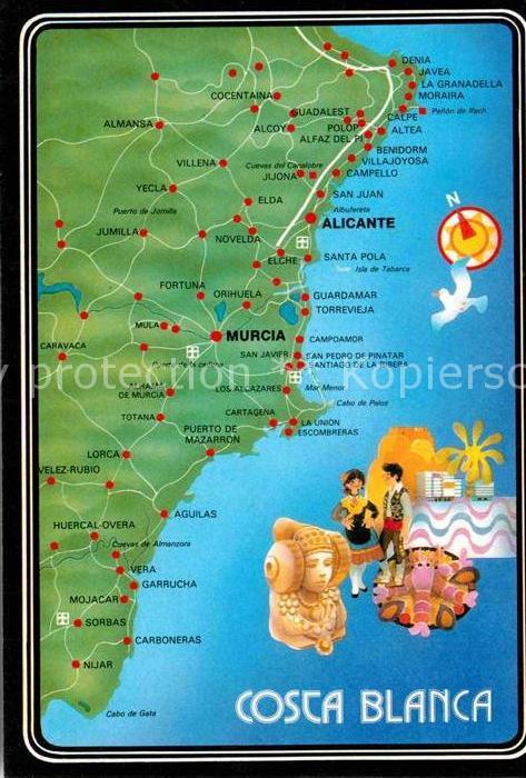 Karte Costa Brava Spanien.Ak Ansichtskarte Costa Blanca Landkarte Kueste