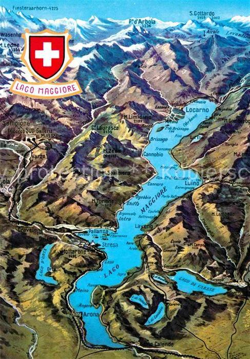 Lago Maggiore Karte.Ak Ansichtskarte Luino Locarno Cannobio Arona Lago Maggiore Kat Lago Maggiore