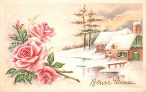 AK / Ansichtskarte Neujahr Rosen  Kat. Greetings