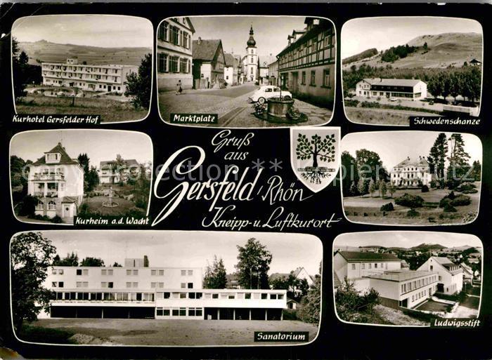 AK / Ansichtskarte Gersfeld Rhoen Marktplatz Ludwigsstift Schwedenschanze  Kat. Gersfeld (Rhoen)