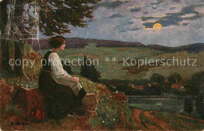 AK / Ansichtskarte Kuenstlerkarte K. v. Rozynski Sehnsucht  Kat. Kuenstlerkarte