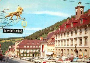 AK / Ansichtskarte Triberg Schwarzwald Rathaus Gasthaus Loewen Stube  Kat. Triberg im Schwarzwald