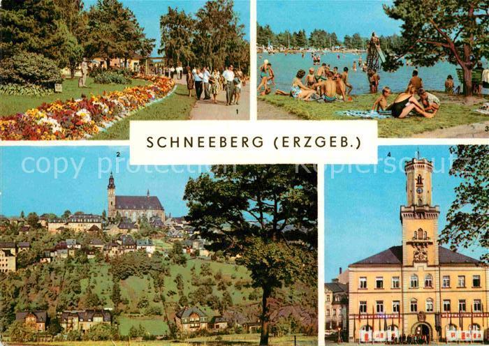 AK / Ansichtskarte Schneeberg Erzgebirge 500 Jahre Bergstadt Filzteich Badestrand Promenade Kirche Rathaus Kat. Schneeberg