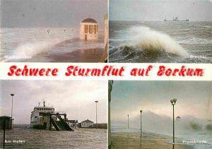 AK / Ansichtskarte Borkum Nordseebad Schwere Sturmflut Brecher Musikpavillon Promenade Hafen Faehre Kat. Borkum