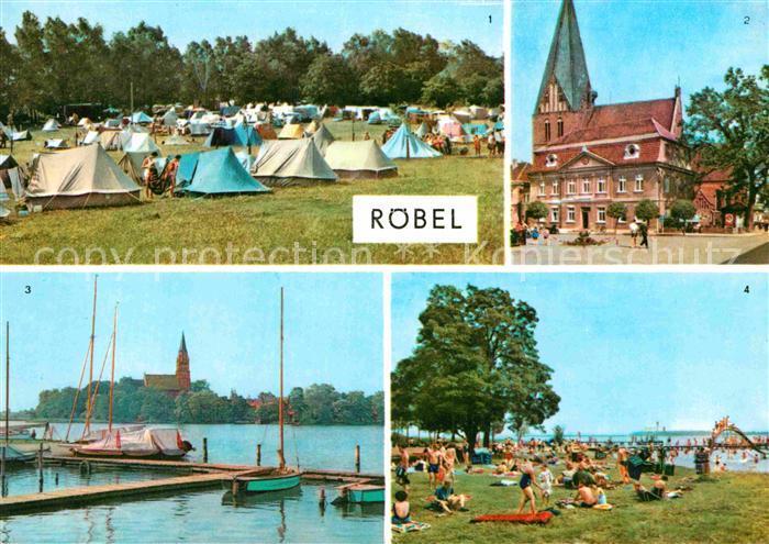 AK / Ansichtskarte Roebel Mueritz Zeltplatz Rathaus Badeanstalt an der Mueritz Mecklenburgische Seenplatte Kat. Roebel Mueritz
