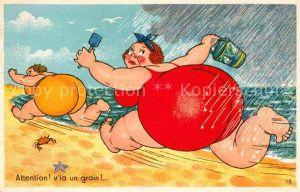 AK / Ansichtskarte Humor Strand Regen Frauen  Kat. Humor