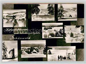 AK / Ansichtskarte Schoenwald Schwarzwald Teilansicht Aussichtsturm Kirche Skipiste Teilansicht  Kat. Schoenwald im Schwarzwald