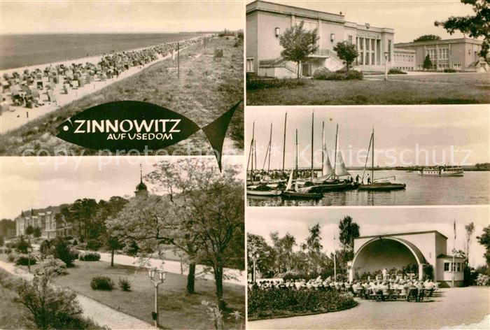 AK / Ansichtskarte Zinnowitz Ostseebad Strand Promenade Konzertplatz Kulturhaus Achterwasser