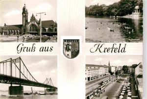 AK / Ansichtskarte Krefeld Hauptbahnhof Stadtwald Ostwall Rheinbruecke Kat. Krefeld
