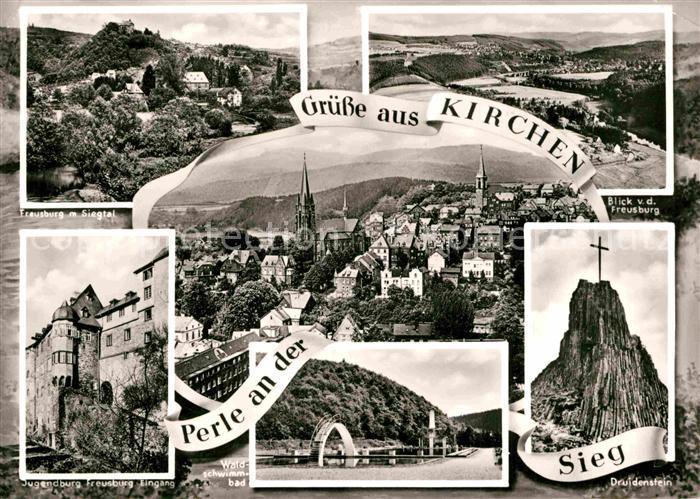 AK / Ansichtskarte Kirchen Sieg Freusburg Siegtal Druidenstein Jugendburg Kat. Kirchen (Sieg)