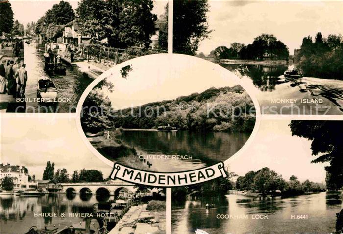 AK / Ansichtskarte Maidenhead Riverside Boulters Lock Monkey Island Cookham Lock Bridge Riviera Hotel Kat. Windsor and Maidenhead