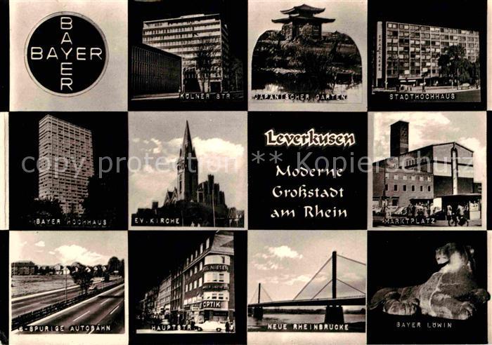 AK / Ansichtskarte Leverkusen Bayer Hochhaus Marktplatz Stadthochhaus Rheinbruecke Bayer Loewin Kat. Leverkusen