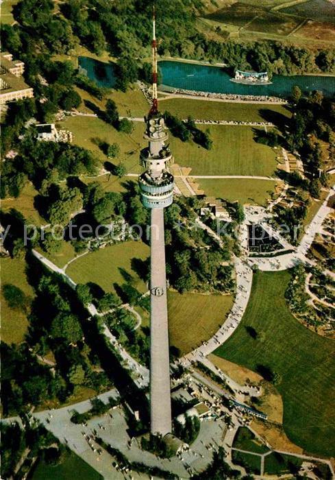 AK / Ansichtskarte Dortmund Westfalenpark Florianturm Aussichtsturm Fernmeldeturm Fliegeraufnahme Kat. Dortmund