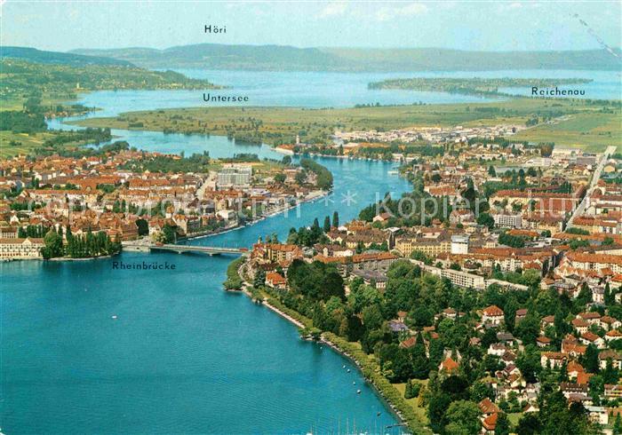 AK / Ansichtskarte Konstanz Bodensee mit Vorort Petershausen Untersee Hoeri Insel Reichenau Fliegeraufnahme Kat. Konstanz