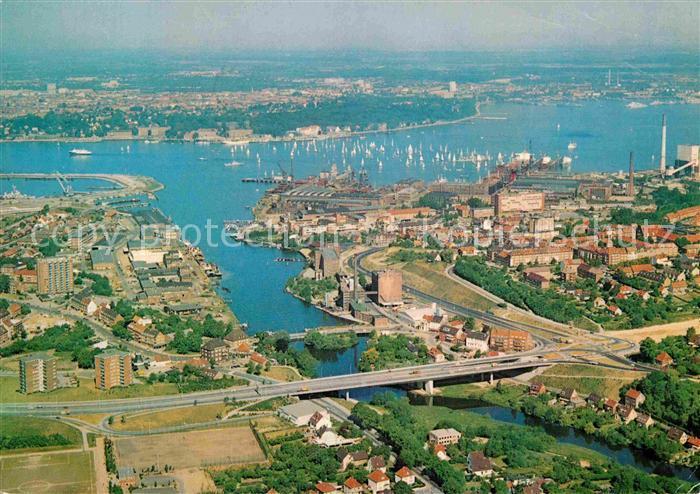 AK / Ansichtskarte Kiel Landeshauptstadt Schwentine Segelregatta auf der Foerde Fliegeraufnahme Kat. Kiel