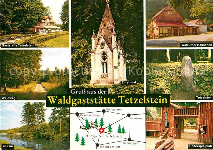 AK / Ansichtskarte Koenigslutter Elm Waldgaststaetten Tetzelstein Watzumer Haeuschen Ehrenmal Kinderspielplatz Kat. Koenigslutter am Elm