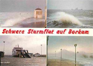 AK / Ansichtskarte Borkum Nordseebad Sturmflut Hafen Promenade Brecher Musikpavillon Kat. Borkum
