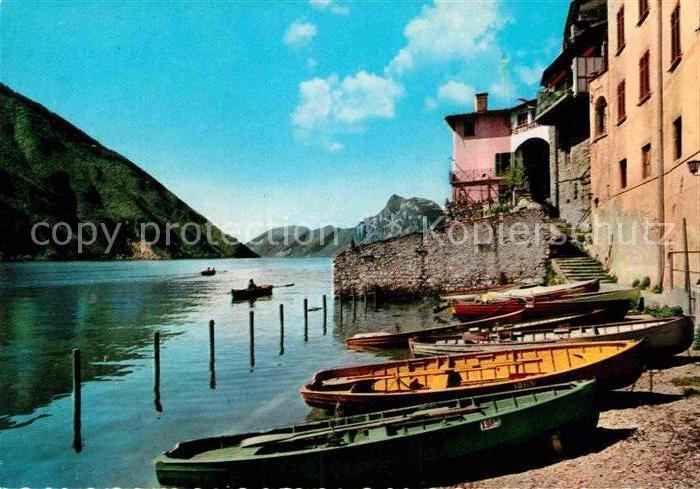 AK / Ansichtskarte Gandria Lago di Lugano Haeuserpartie am Luganer See Boote Kat. Gandria