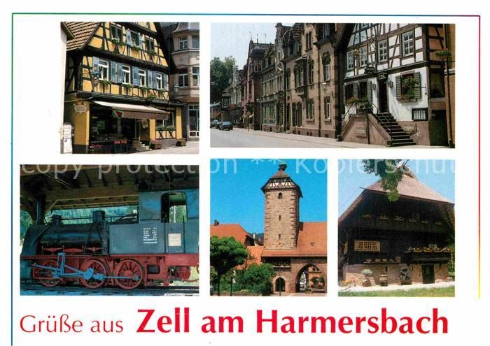 AK / Ansichtskarte Zell Harmersbach Altstadt Storchenturm Eisenbahn Schwarzwaldhaus Kat. Zell am Harmersbach
