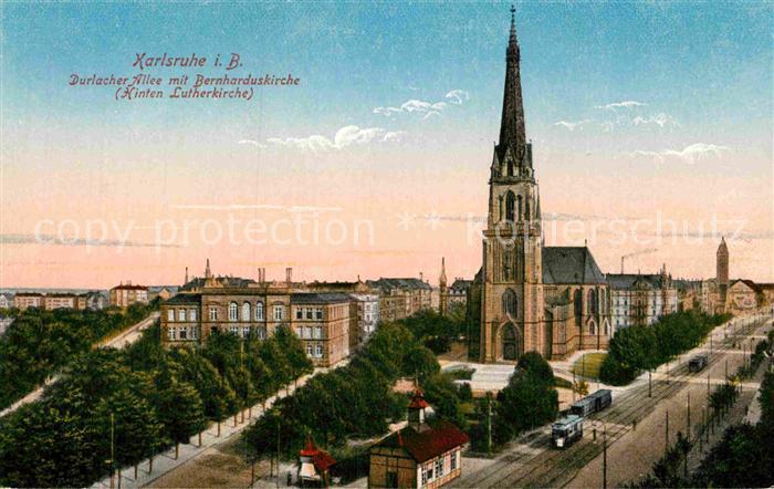 AK / Ansichtskarte Karlsruhe Baden Durlacher Allee Bernharduskirche Lutherkirche