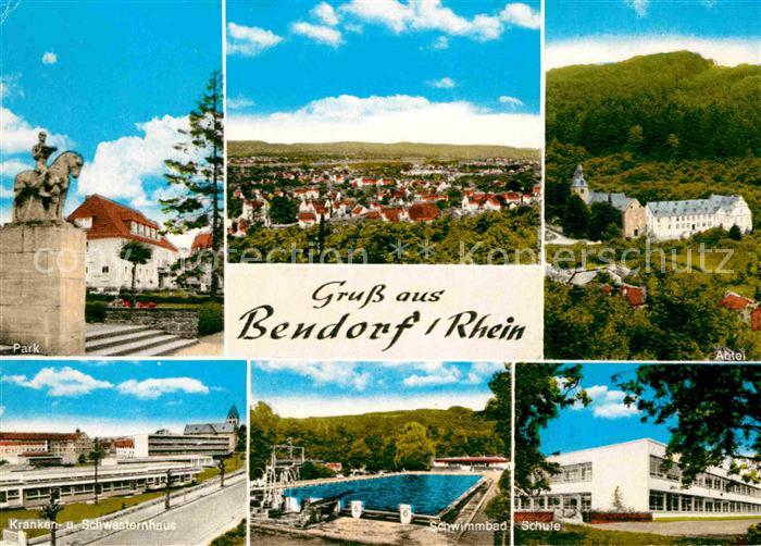 AK / Ansichtskarte Bendorf Rhein Schule Schwimmbad Kranken  und Schwesternhaus Park Kat. Bendorf