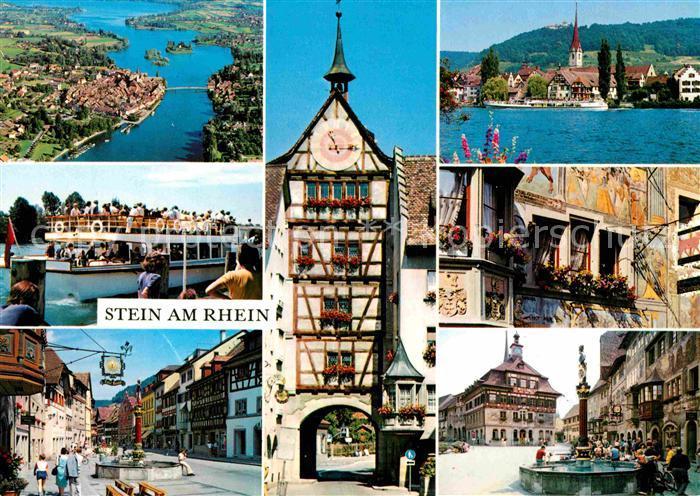 AK / Ansichtskarte Stein Rhein Teilansichten Rheinfaehre Marktplatz Brunnen Fachwerk Tor Kat. Stein Rhein