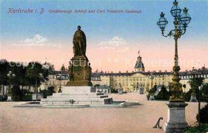 AK / Ansichtskarte Karlsruhe Baden Schloss Carl Friedrich Denkmal