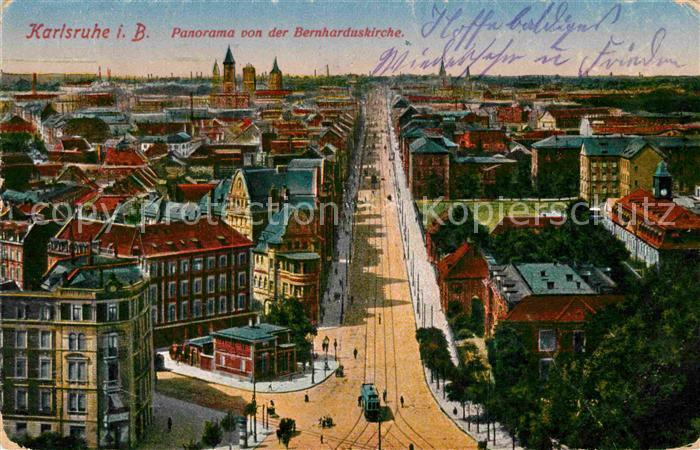 AK / Ansichtskarte Karlsruhe Baden Panorama Bernharduskirche