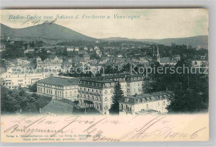 AK / Ansichtskarte Baden Baden Blick Schloss Freiherrn von Venningen Kat. Baden Baden