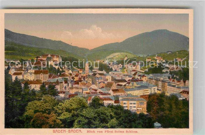 AK / Ansichtskarte Baden Baden Panorama Fuerst Solms Schloss Kat. Baden Baden