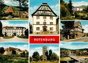 AK / Ansichtskarte Rotenburg Fulda Aussichtspunkt Teilansichten Gebaeude Turm Bruecke Fachwerkhaus Kat. Rotenburg a.d. Fulda