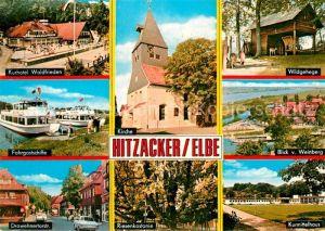 AK / Ansichtskarte Hitzacker Elbe Kurhotel Fahrgastschiff Drawehnertorstrasse Kirche Riesenkastanie Wildgehege Weinberg Kurmittelhaus Kat. Hitzacker (Elbe)