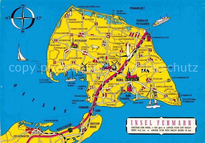 AK / Ansichtskarte Fehmarn Landkarte Kat. Fehmarn