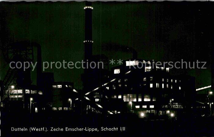 AK / Ansichtskarte Datteln Zeche Emscher Lippe Nachtaufnahme Kat. Datteln