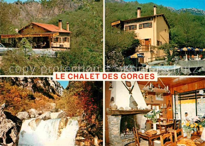 AK / Ansichtskarte Gourdon Alpes Maritimes Le Chalet des Gorges Gastraum Wasserfall Kat. Gourdon
